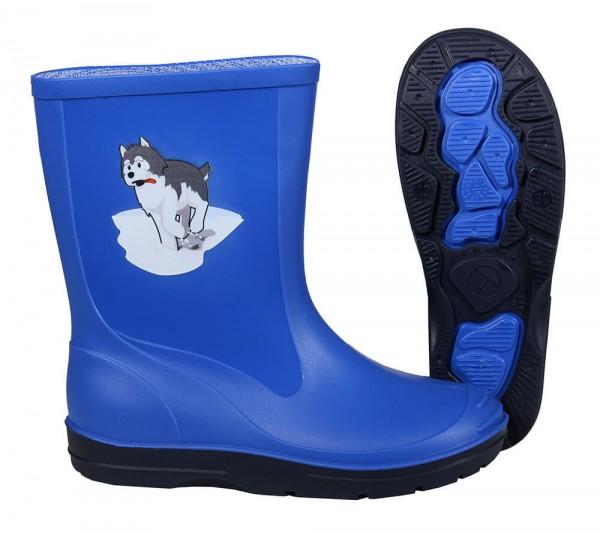 Gummistiefel Kinder royal-blau mit Motiv Husky