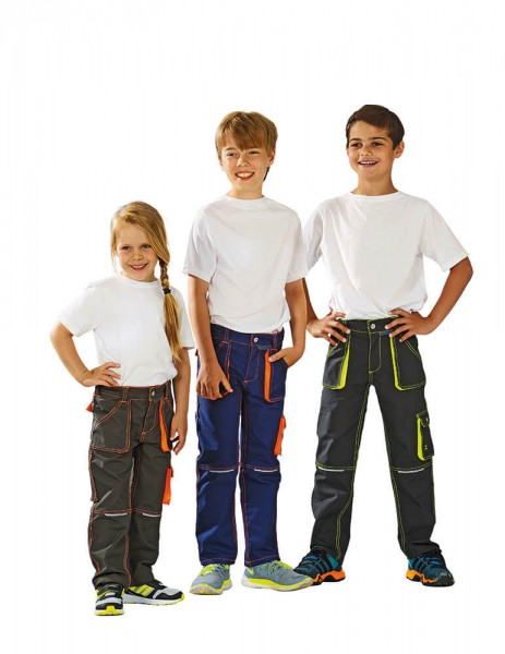 Planam Junior Outdoorhose Kinder olive-orange,marine-orange,schwarz-neon
