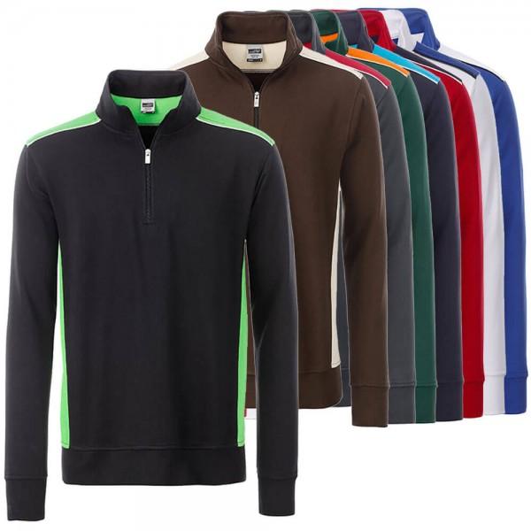 """JN Arbeits Sweatshirt Half Zip Herren """"Level 2"""" in 8 Farben"""
