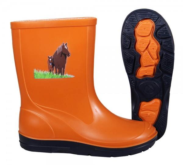 Beck Gummistiefel Kinder orange✔ Pferd mit Fohlen Motiv✔