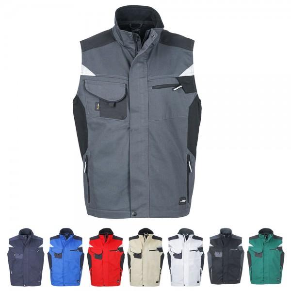 Arbeitsweste Workwear Weste Herren von James Nicholson in 8 Farben erhältlich