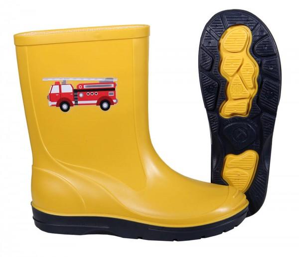 Gummistiefel Kinder gelb mit Motiv Feuerwehrauto